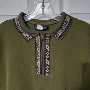 Vintage 70's Olive Green Zip Up Polo